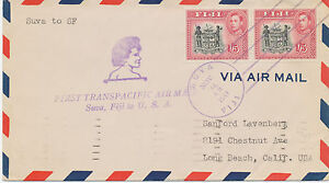 AU$ FIJI 1941 George VI 1Sh5D (pair) First Transpacific Air Mail SUVA, FIJI -USA