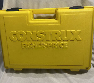 Vintage 1983 Fisher Price CONSTRUX Yellow Case PARTS Lot Building Toy *USA Made