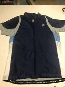 Cannondale Polyester Bike Cycle full Zip Blue Grey white Jersey Mens Size XX