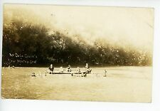 """At DeLaCroixs"" New Trenton IN Rare RPPC Whitewater Cedar Grove Photo CANOE 1914"