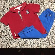 12 / 18 Months Authentic Burberry Baby Boy's Polo T-shirt Tee Pants Red Blue 1Y