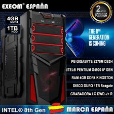 Ordenador Gaming Pc Intel G4900 8Th Gen 4GB DDR4 1TB USB3.0 HDMI De Sobremesa