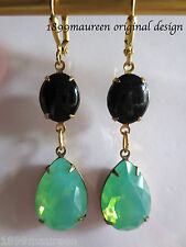 Edwardian Art Nouveau Art Deco earrings vintage black green opal crystal drop