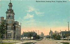 Virginia Minnesota~Big Church Bell Tower~Spruce St Looking West 1913 Postcard