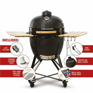 "Kamado Bono Grande23"" BBQ Grill Smoker Ceramic Egg Charcoal Cooking Oven Outdoor"