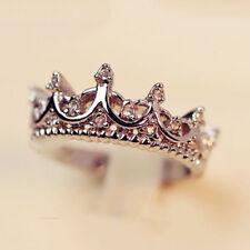 Chapado en Oro de Ley 925 reinas Corona de Cristal estrás Anillo tamaños de 5 a 9