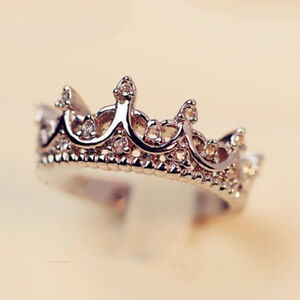 925 STERLING GOLD PLATED QUEENS CROWN CRYSTAL RHINESTONE  RING SIZES 5 TO 9
