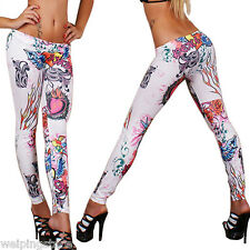 Hot Women Leggings Sexy Skinny Slim Stretchy Tattoo Soft Jeggings Pants 9019