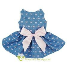 "Fitwarm 16""Chest Denim Pink Dog Party Dress Medium Pet Clothes Shirt Girl Vest"