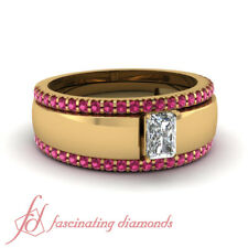 .90 Ct Radiant Cut Diamond Solitaire Engagement Ring With Pink Sapphire Bands