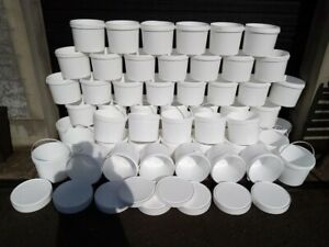6 Pack Recycled White Plastic Buckets and Lids 10 ltr Ex Food Washed Excellent