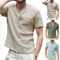 Men Plain Casual T Shirt Linen Shirt Summer Short Sleeve V-Neck Loose Cool Tops