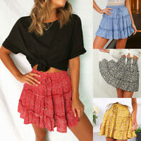 Women Summer Casual Bohe High Waist Ruffled Floral Print Beach Short Skirt Dress