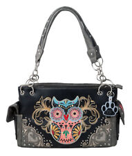 Western Colorful Owl Art Hearts Concealed Carry Handbag Purse Shoulder Bag