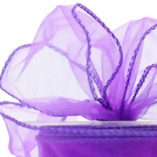 Organza wire edged floristry Craft ribbon Purple shimmer 20m roll x 7cm wide