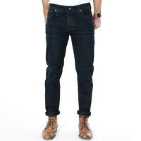 Nudie Herren Slim Fit Stretch Jeans Hose Schwarz -Tilted Tor Black Sparkles