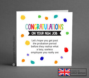 NEW JOB sorry you're leaving work cards funny cheeky humour rude good luck G6
