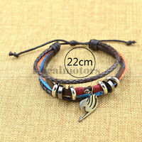 Anime Cosplay Fairy Tail Leather Bracelet Muti-Layer Bangel Cuff Unisex 1PC
