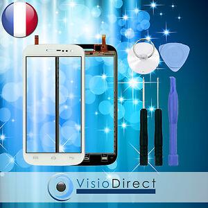 Ecran vitre tactile pour Wiko Cink five blanc + stickers pré installé + outils