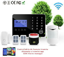 ANTIFURTO ALLARME TOUCH CASA KIT COMBINATORE GSM PSTN WIRELESS SENZA FILI APP