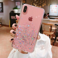 Bling Glitter Case For iPhone 7 Plus 8 XR XS Max Clear Gel Soft Phone Case Cover