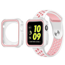 Tempered Glass Screen Protector+Silicone Bumper Case Apple Watch iWatch 38/42mm
