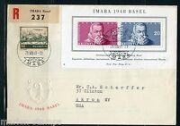 SWITZERLAND MICHEL#BL13 IMABA  S/S  REG-COMBINATION  FIRST DAY COVER TO AKRON NY