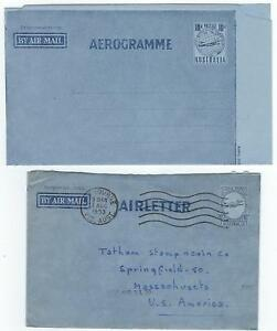 AUSTRALIA 1954 MINT AIR LETTER A6 & A5 USED
