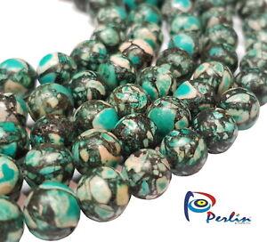 48 Türkis mosaik Perlen 8mm Rund Edelstein Halbedelsteine Schmuckstein G4