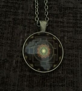 Buddhist Sri Yantra Sacred Geometry Necklace With Bronze Coloured Chain