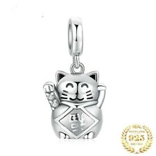 💖 Lucky Cat Paw Love Genuine 925 Sterling Silver Charm Fit Bead Bracelet 💖
