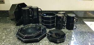 Vintage Retro Arcoroc Black Hexagonal Dining Set - Gothic Modern