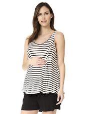 - NWT LM Women/'s Maternity L LOFT White Short Sleeve Linen Scoop Neck Tee