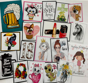 """*SALE* Clear Out Set AS PHOTO Mixed Printed Images/Toppers 2-4"""" (0045)"""