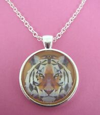 Tiger Triangle Design Silver Pendant Glass Necklace New in Gift Bag Animal