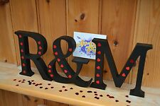 Personalised Name Initials Wooden Letters Custom Wedding Sign Black With Hearts