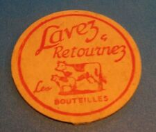 1950s MILK BOTTLE CAP TWO COWS LAVEZ & RETOURNEZ LES BOUTEILES QUEBEC CANADA