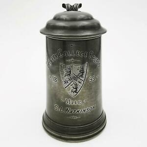 TRINITY COLLEGE OXFORD SPORTS PEWTER TROPHY TANKARD 1 MILE Victorian 1893