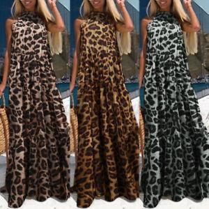 ZANZEA Damen Leopard Vintage Halter Maxi Kleid Strand Partykleid Cocktailkleid