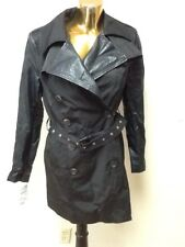 BCBGeneration Women's Faux Leather Sleeves Trench Coat In Black Size M