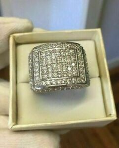 Real 14K White Gold Over Diamond Pinky Ring Mens Round Square Pave Band 2.00Ct