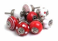 Funky Style Red & White Ceramic Cupboard Knobs Kitchen Door Knobs Drawer MG-128
