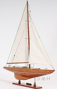 """Columbia 1958 America's Cup Yacht Wooden Model 39"""" 12 Meter Sailboat Decor New"""
