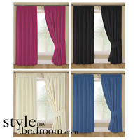Pair Fully Lined Plain Curtains in 4 Colours & 7 Sizes incl Tie Backs