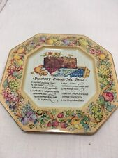 Vintage 1982 Avon Tin Recipe Plate Blueberry Orange Nut Bread 180643