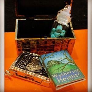 Miniature Wuthering Heights Mini Book Charm Treasure Chest Heart Book Gemstones