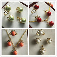 Round South Sea Shell Pearl Gemstone 10mm Earrings Ring Pendant Necklace Set