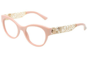 New Dolce & Gabbana DG3184 2585 48mm Light Pink Gold Filigree Eyeglasses Italy