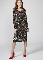 NEW 10 JOE BROWNS Into The Night Black Floral Knee Length Long Sleeve Dress