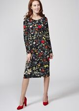 NEW JOE BROWNS 12 Into The Night Dress Black Multi Floral Knee Length Long Slve